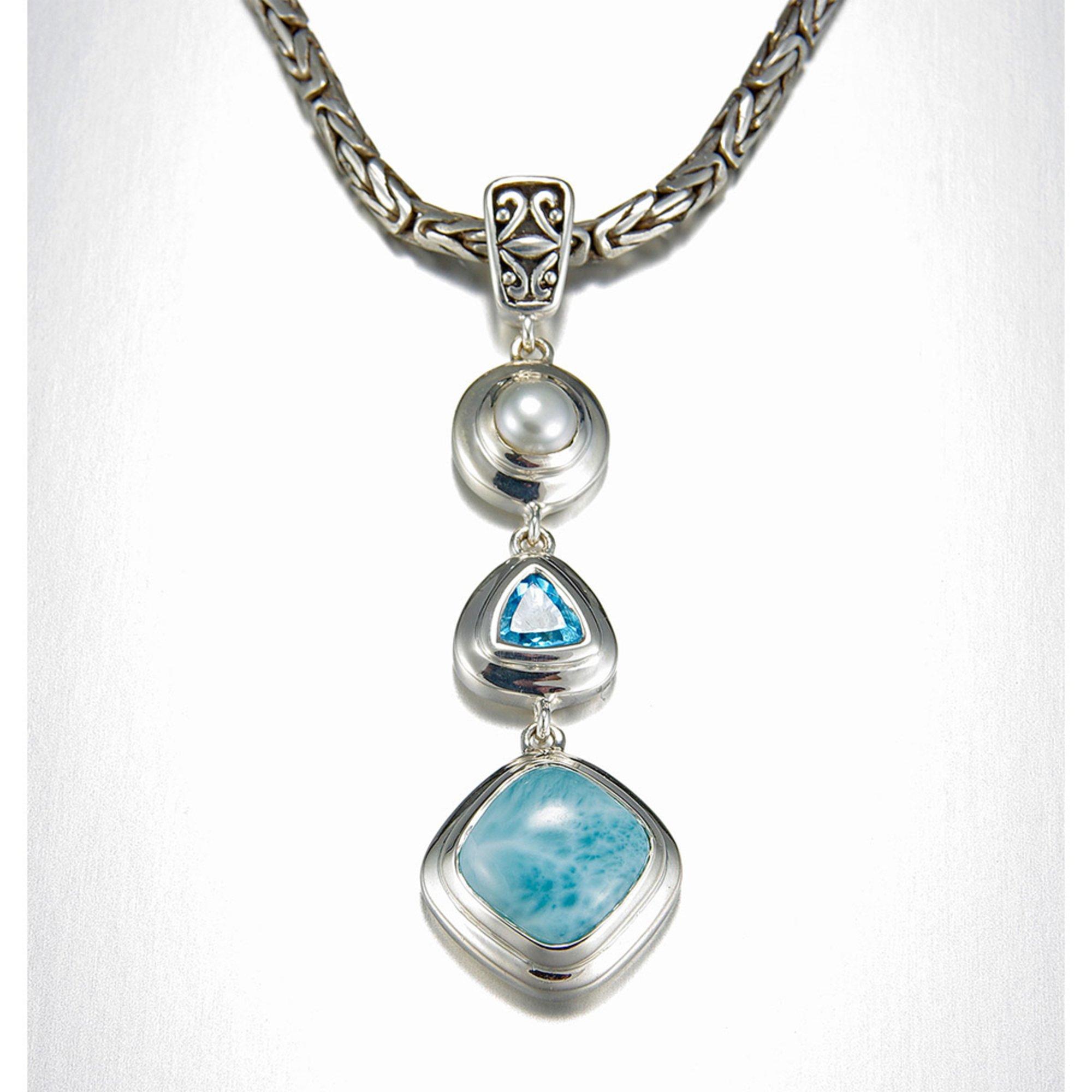 Azzure Silvers: Marahlago Sterling Silver Larimar Azure Necklace