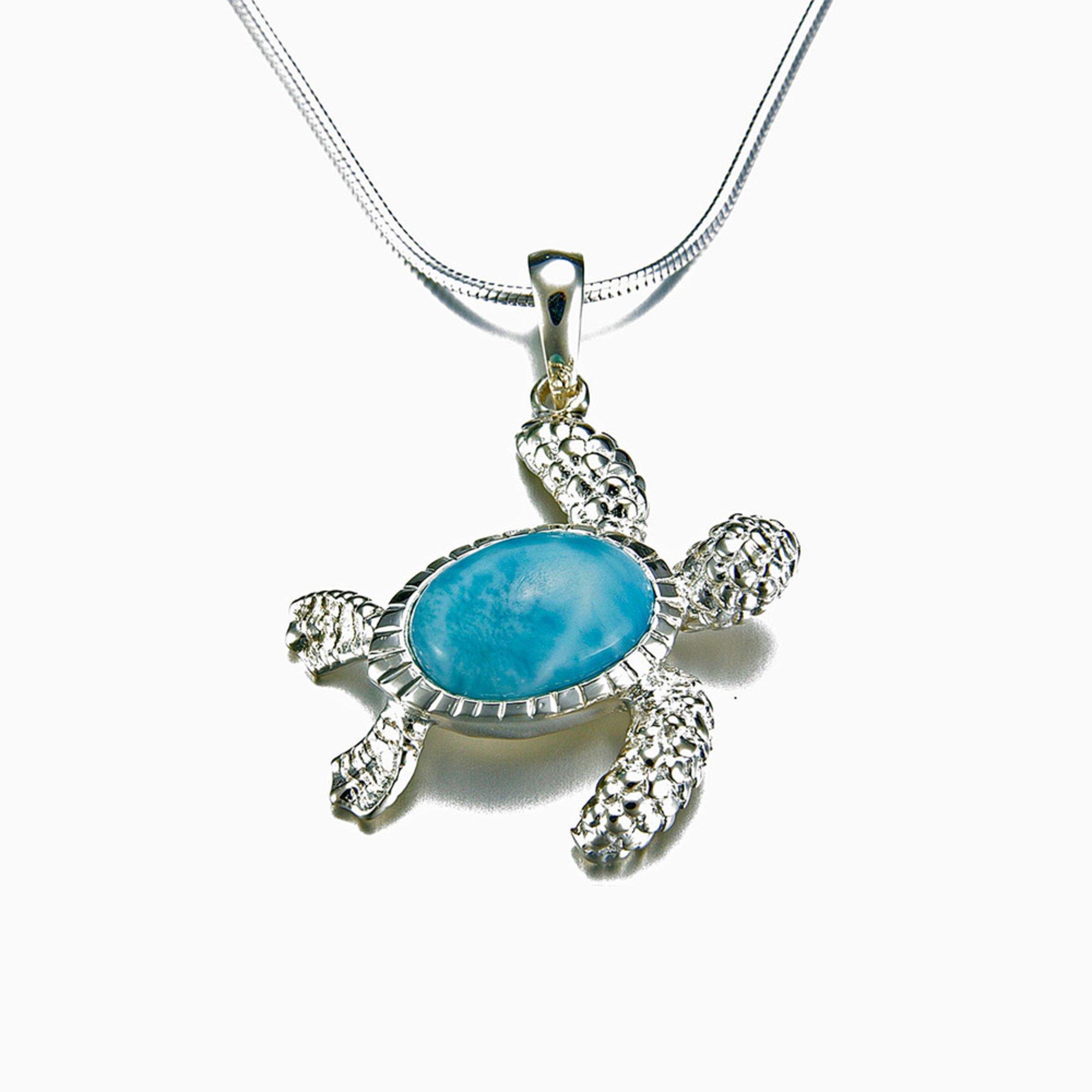 marahlago sterling silver larimar turtle necklace fashion