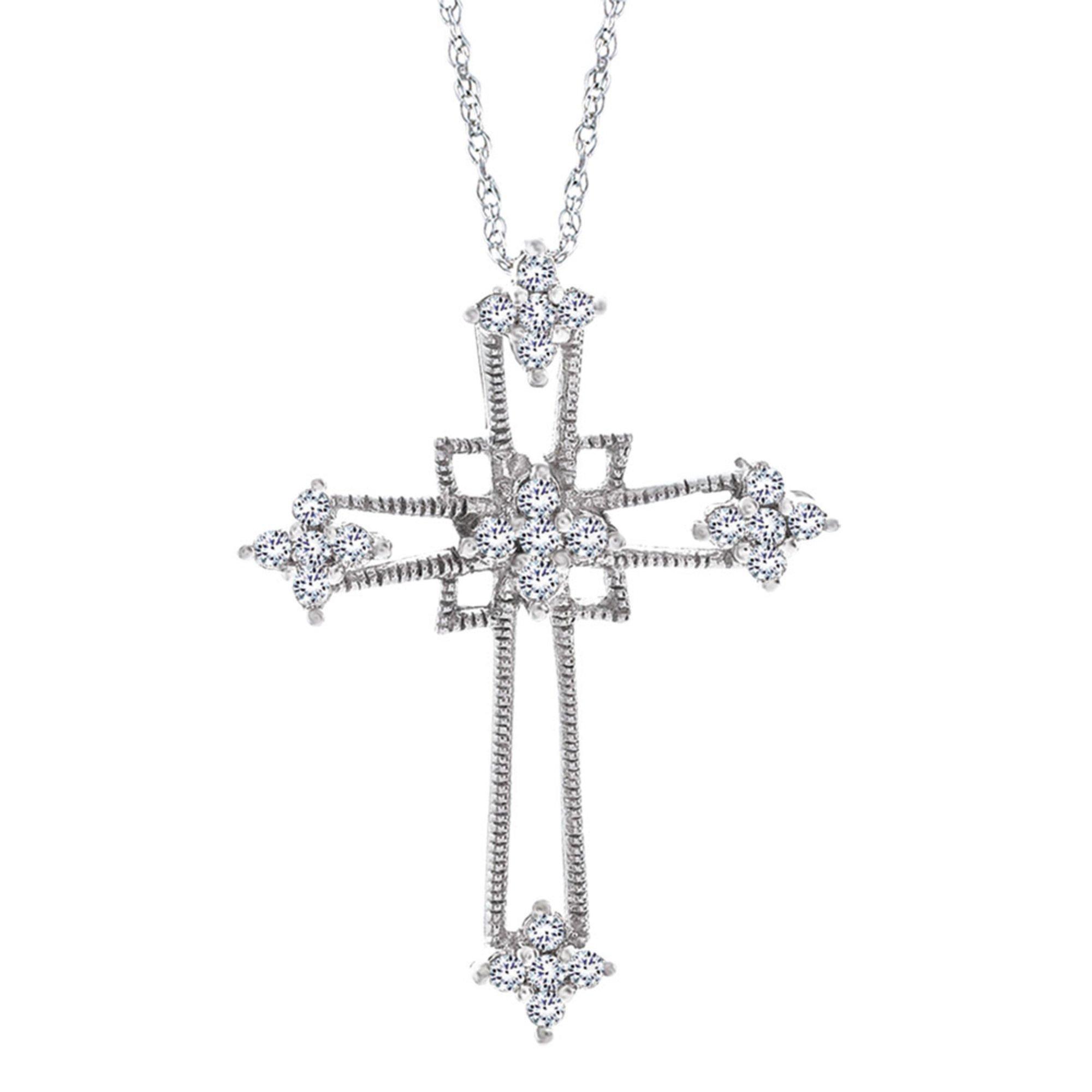 d6e454306106 Sterling Silver 1 5 Cttw Diamond Cross