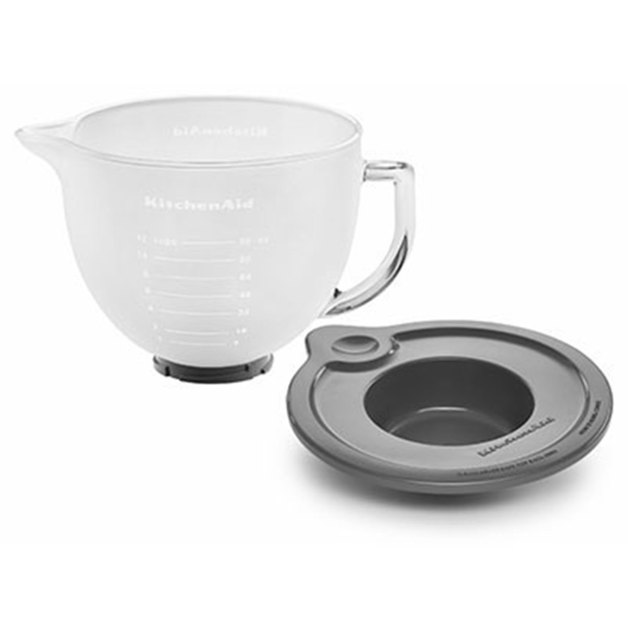 Kitchenaid 5 quart frosted glass mixing measuring bowl for tilt head stand mixer k5gbf - Kitchenaid glass bowl attachment ...