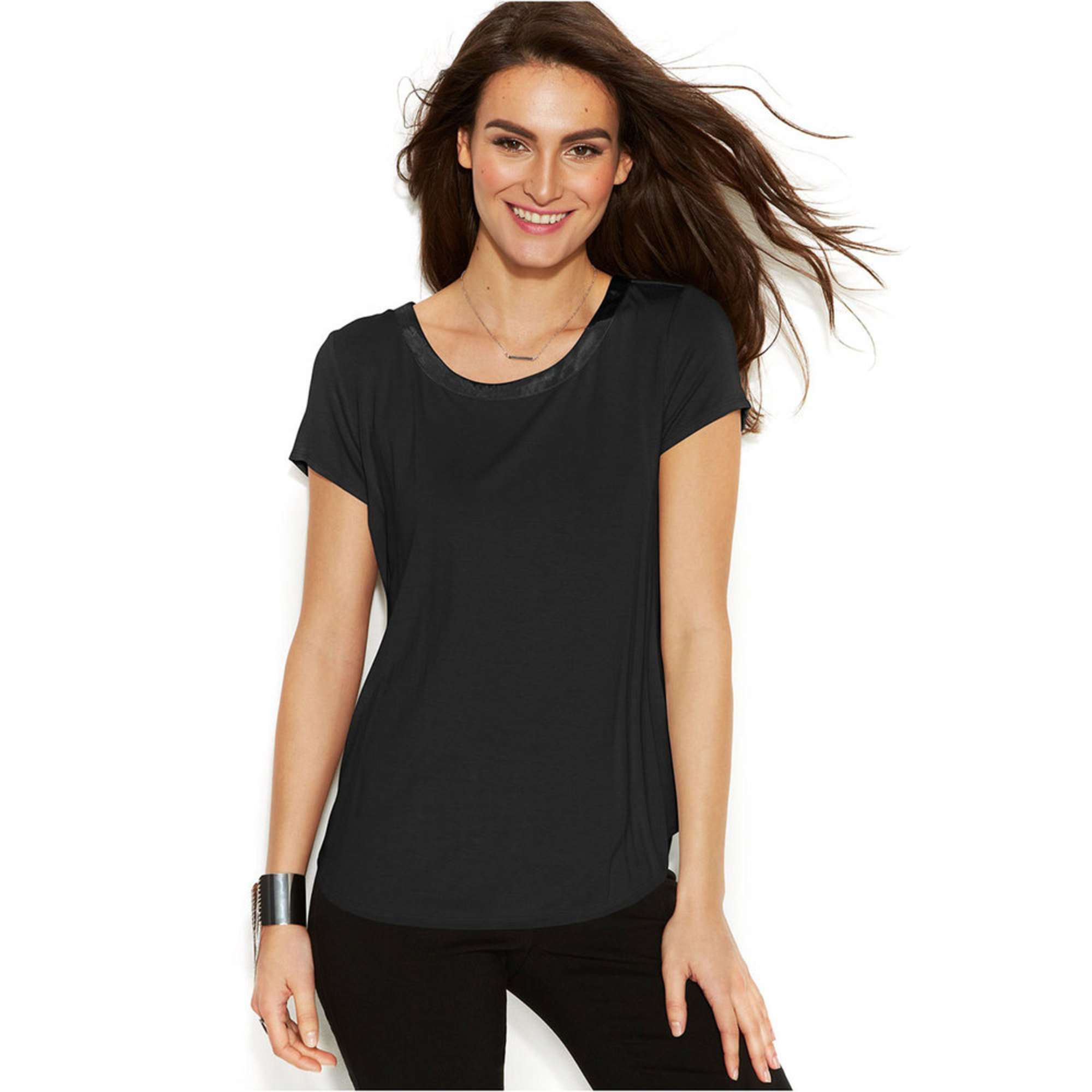 Alfani Women's Knit Hi Lo Satin Trim Tee In Deep Black ...