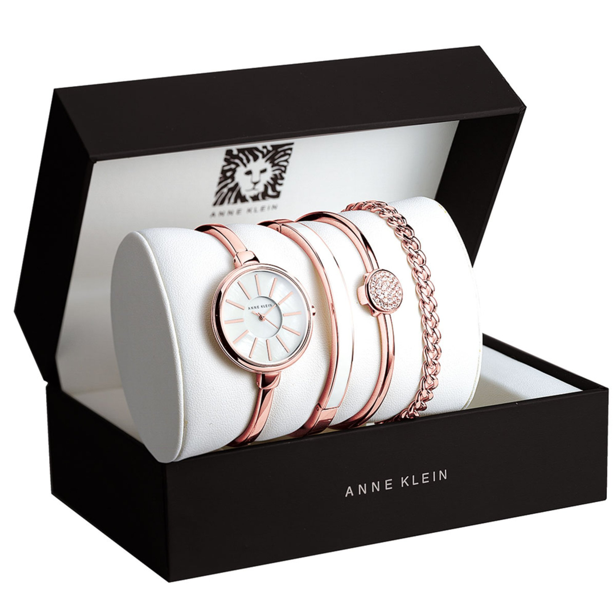 Anne klein women 39 s ivory and rose gold tone 4 piece bracelet watch box set 32mm women 39 s for Anne klein rose gold watch set