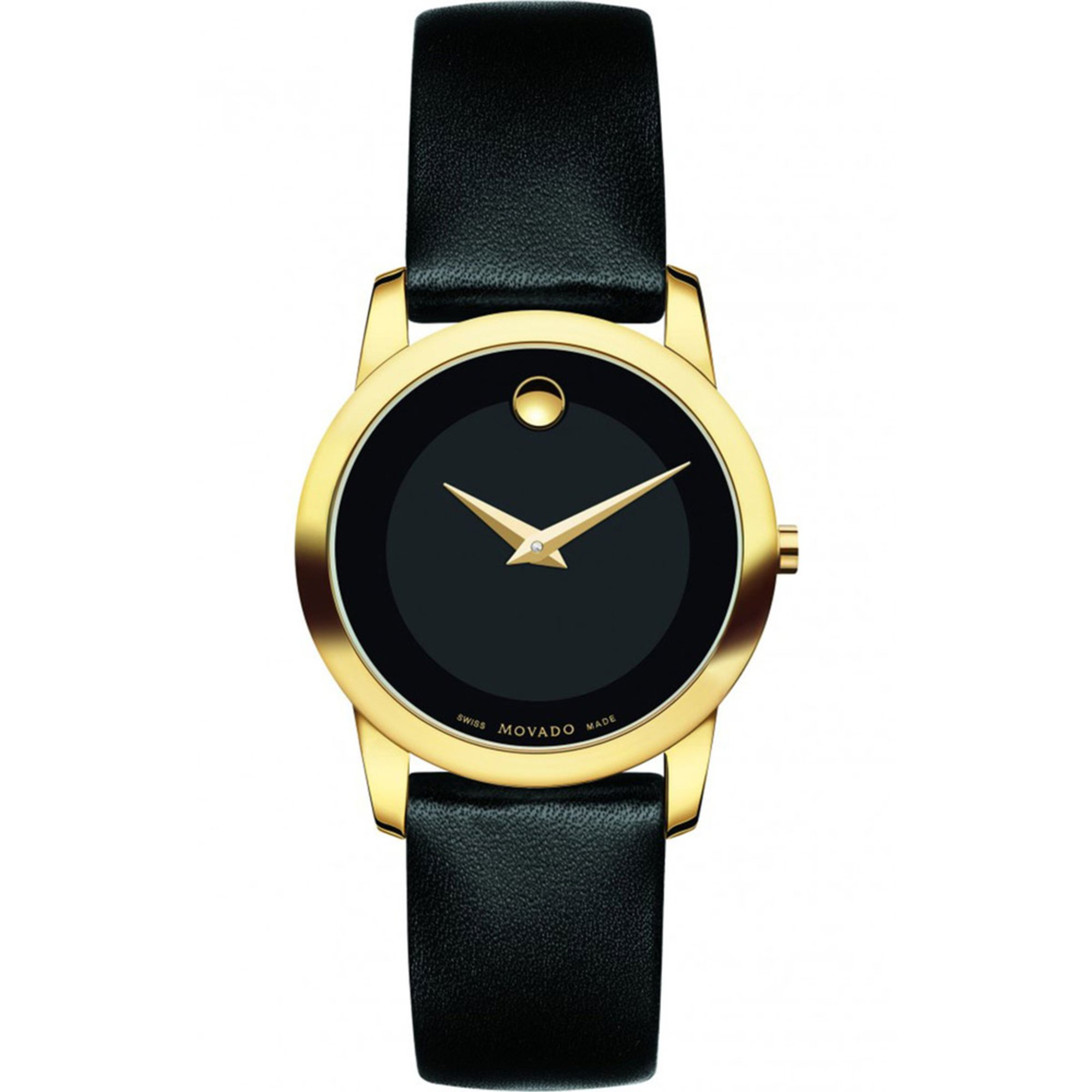 movado s museum classic gold tone leather