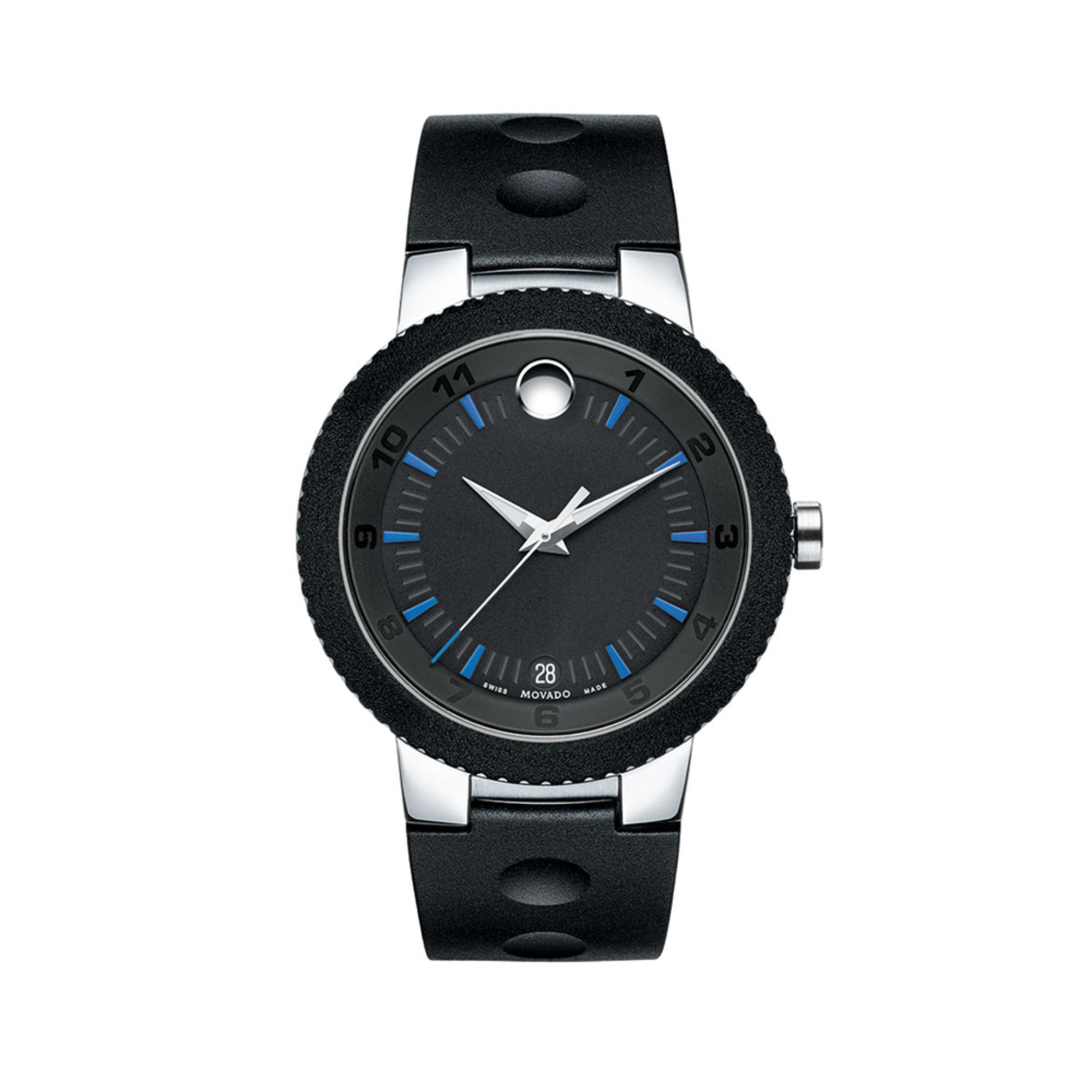 movado s modern sport stainless steel rubber
