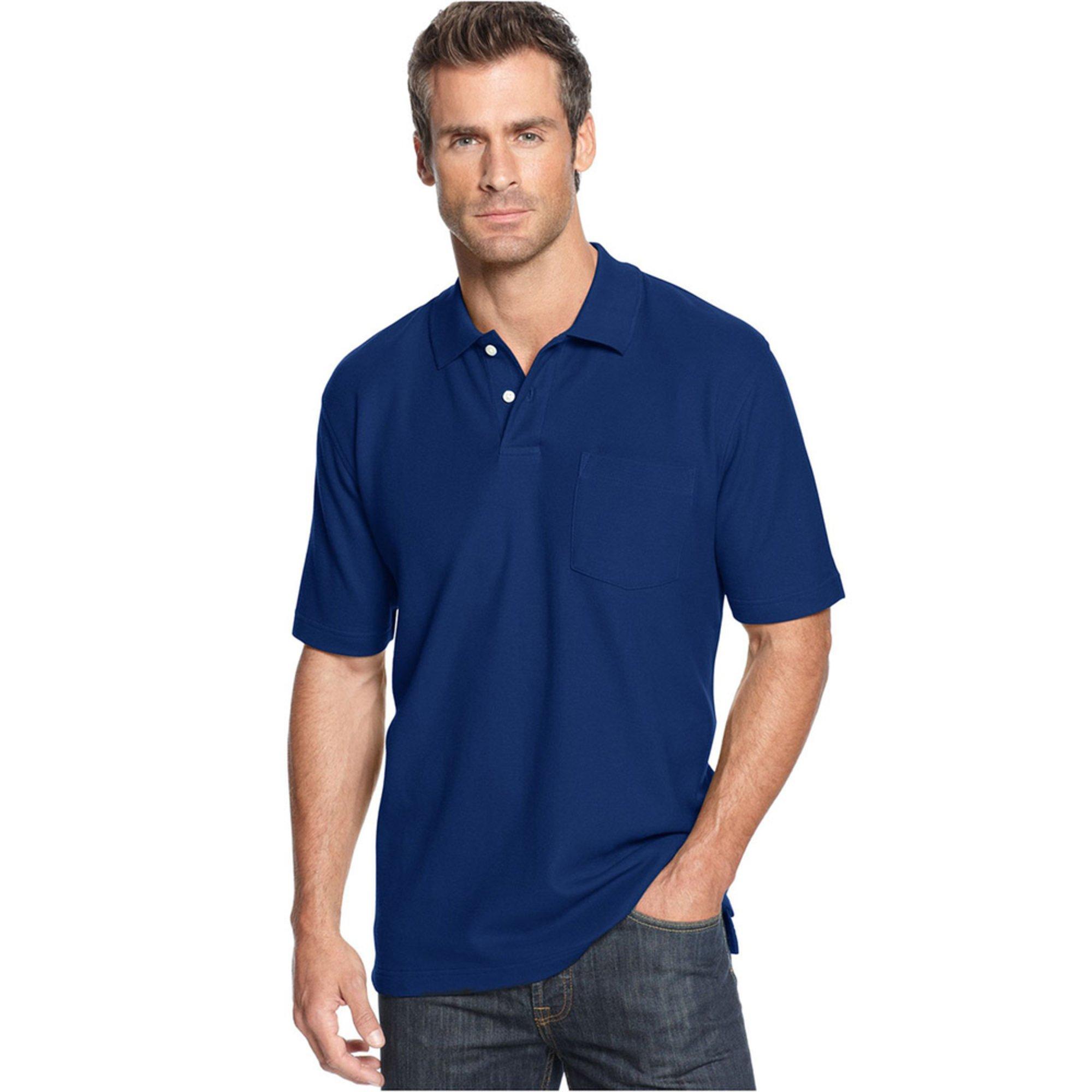 John Ashford Men's Navy Blue Short Sleeve Solid Polo With ...