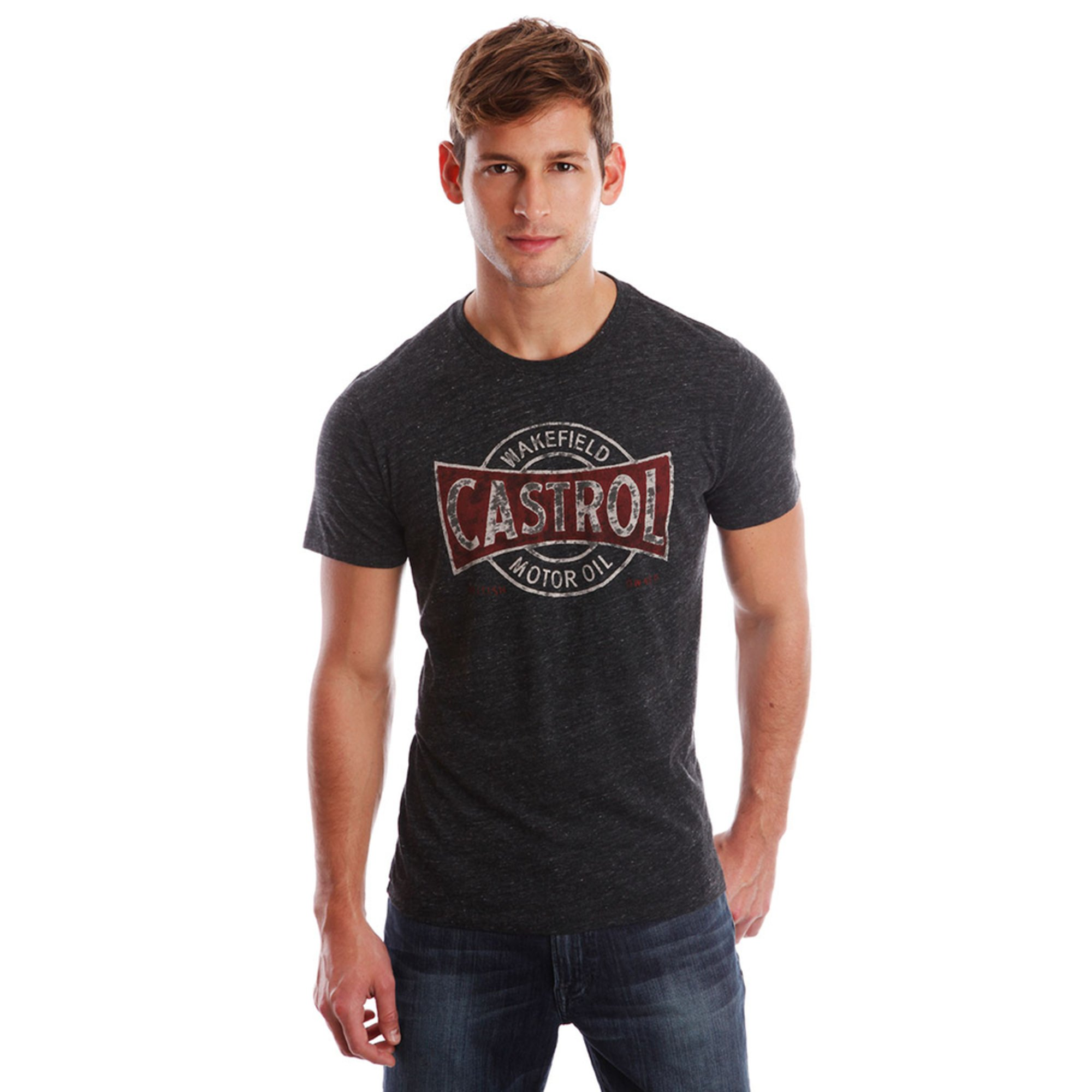 Lucky brand men 39 s short sleeve castrol motor oil graphic for What takes motor oil out of clothes