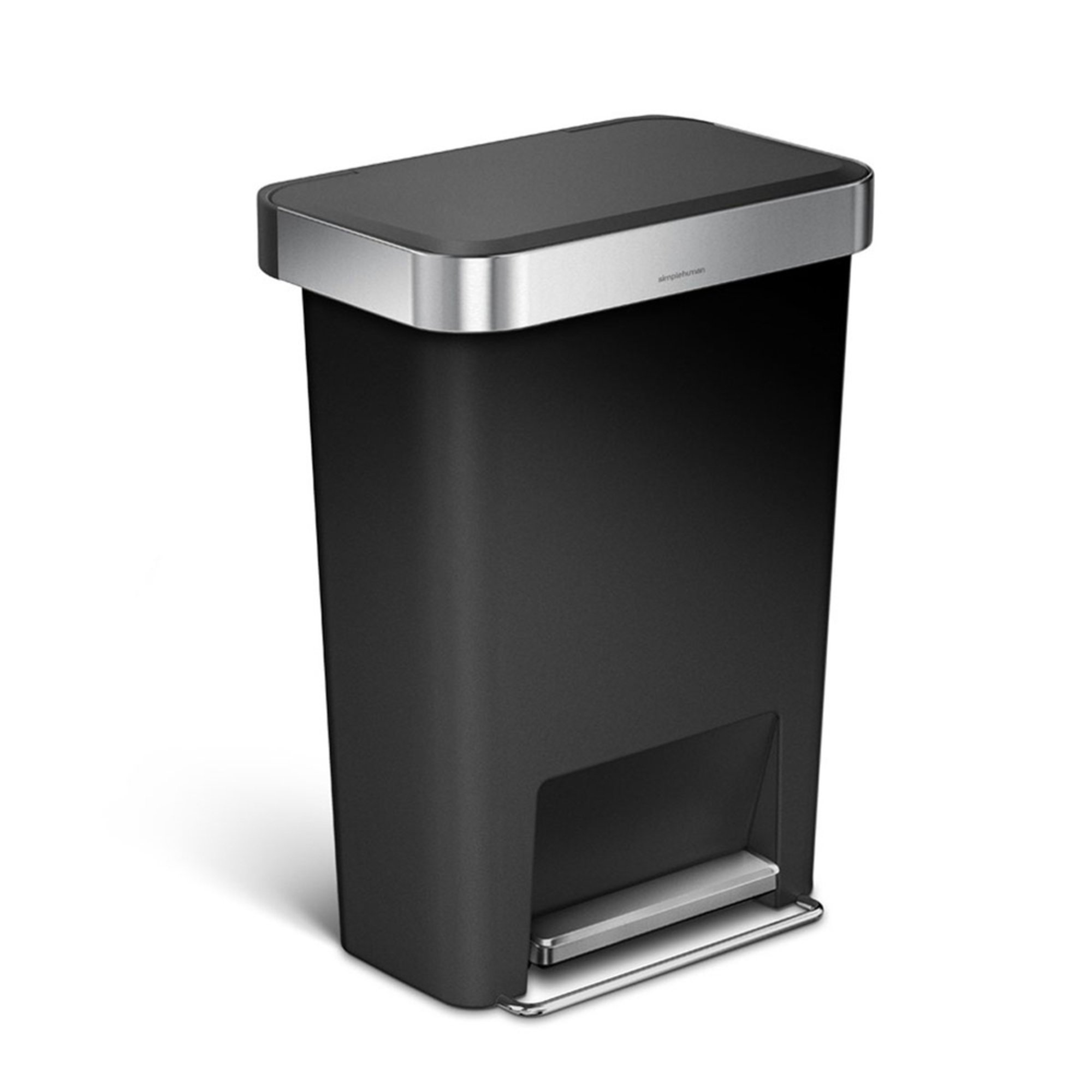 Simplehuman 45l rectangular step can black plastic trash cans recycling bins for the home - Rectangular garbage cans ...