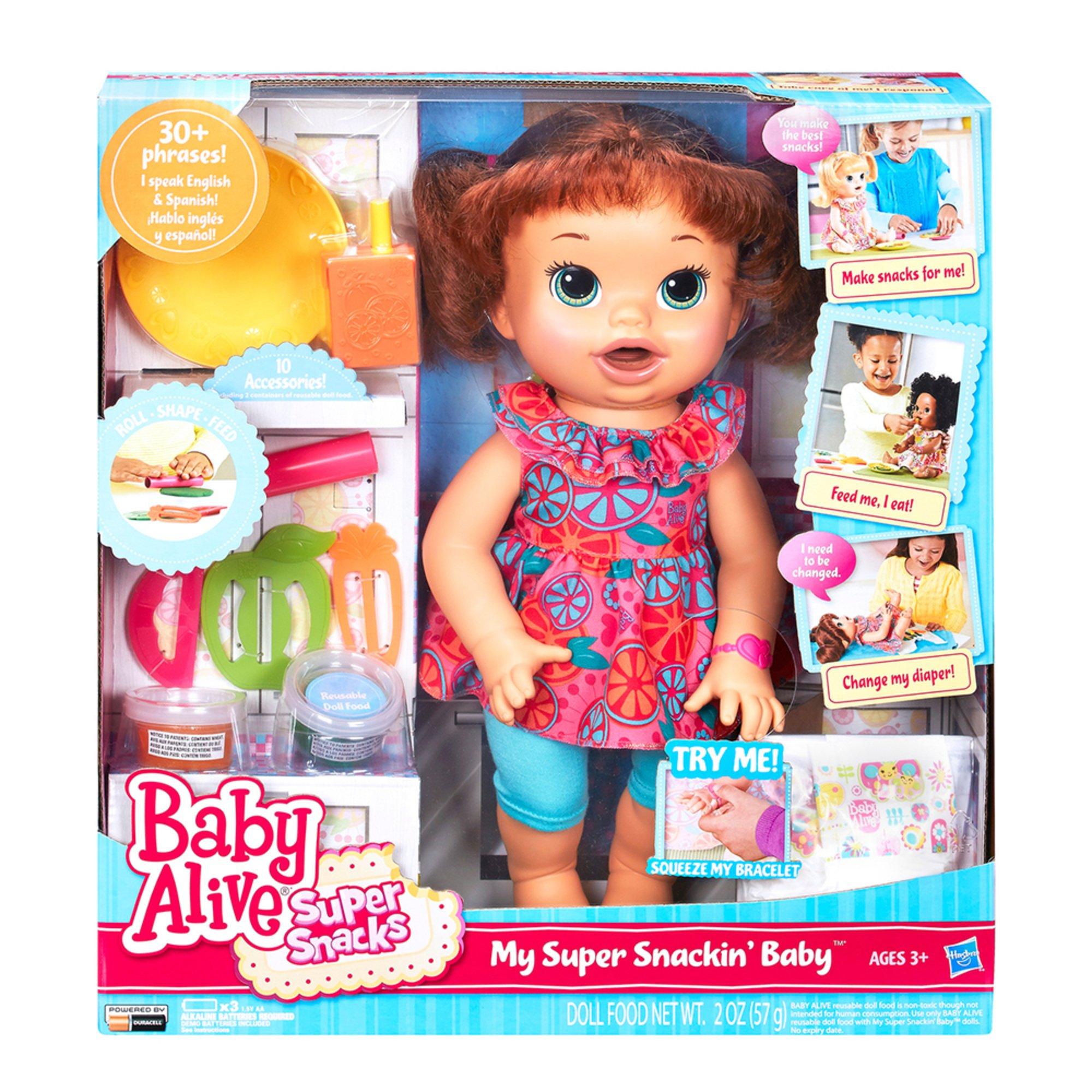 Baby Alive Super Snacks Snackin Sara Brunette Doll