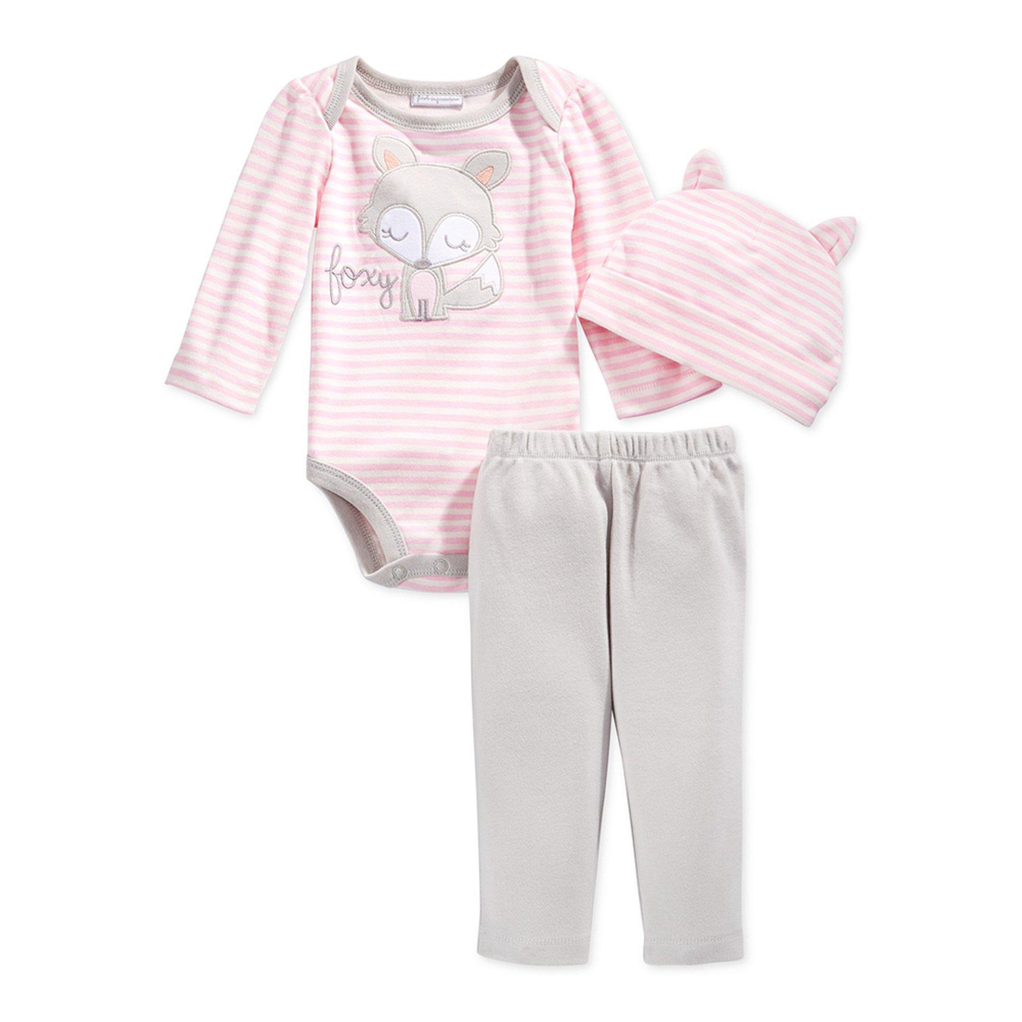 First Impressions Baby Girls' Fox 3-piece Bodysuit Set ...