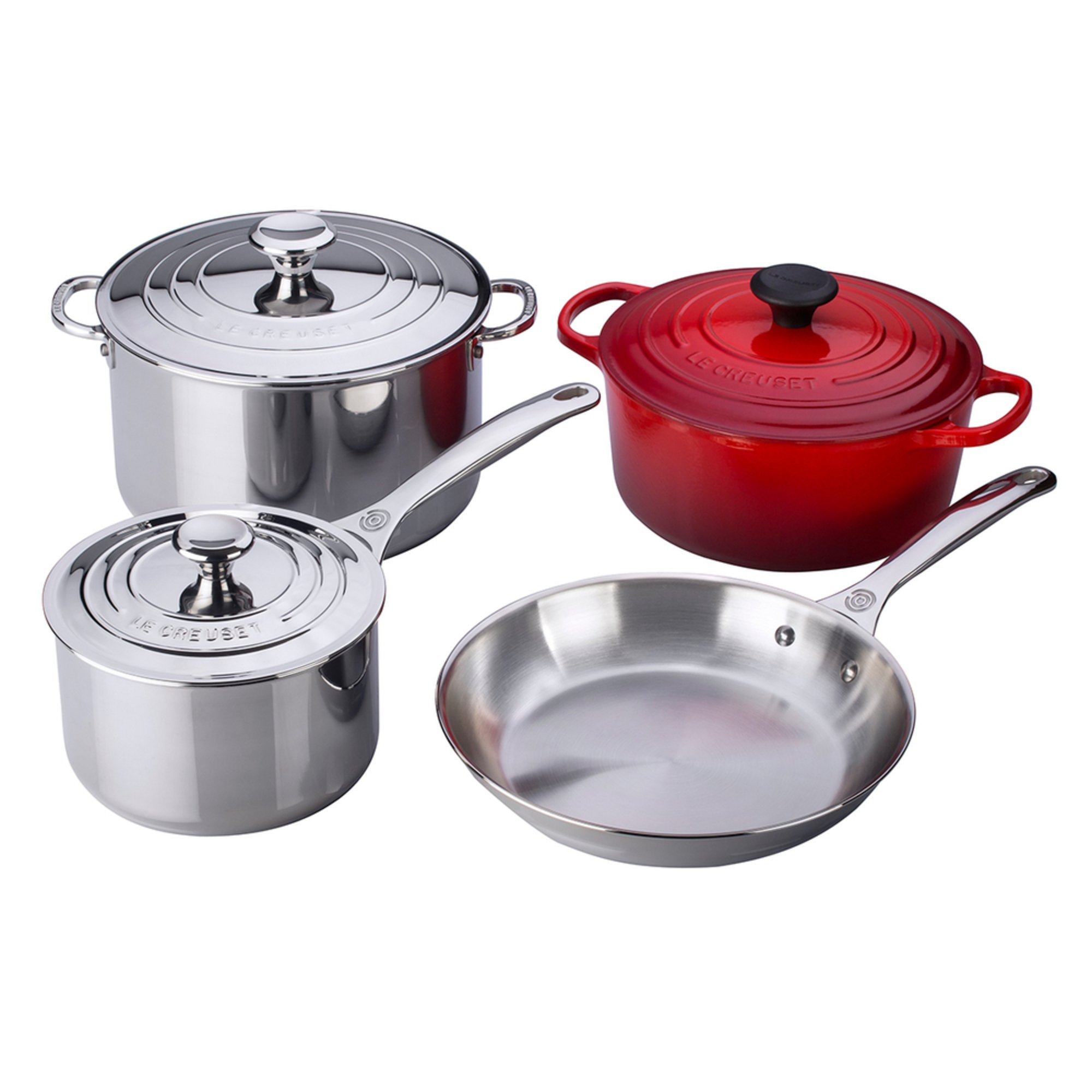 le creuset 7 piece stainless steel enameled cast iron cookware set cerise cookware sets. Black Bedroom Furniture Sets. Home Design Ideas