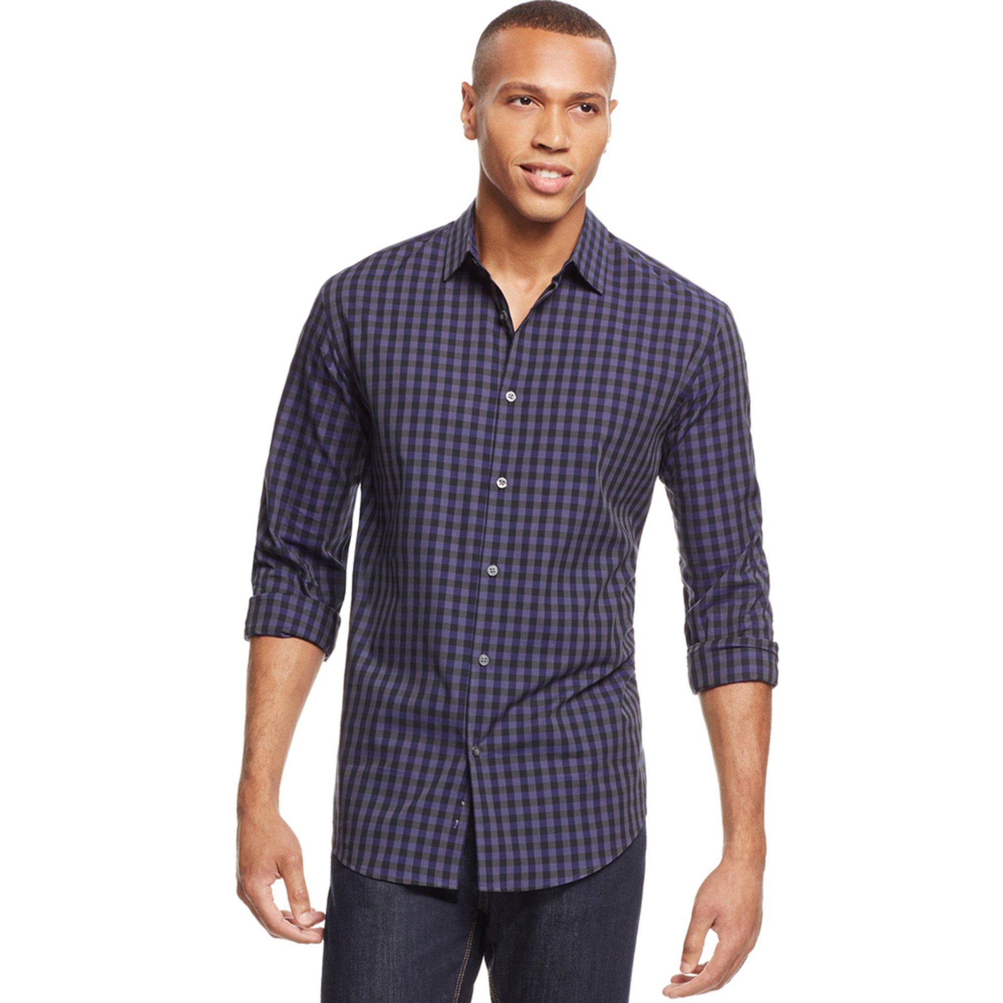 alfani s gingham sport shirt s clothing