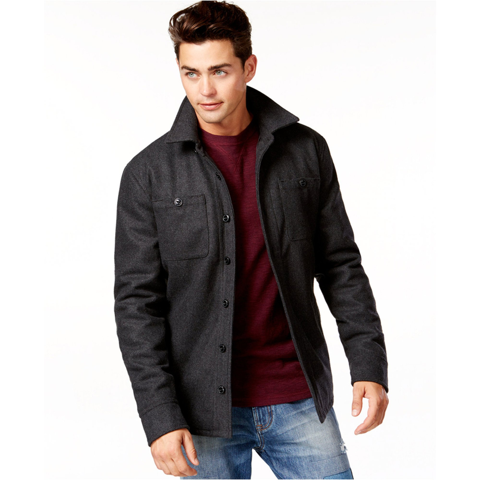 Offers a wide selection of men's clothing including jackets, hoodies, leather jackets, suits, blazers, jeans, hats and shorts. Free shipping worldwide. MENU.