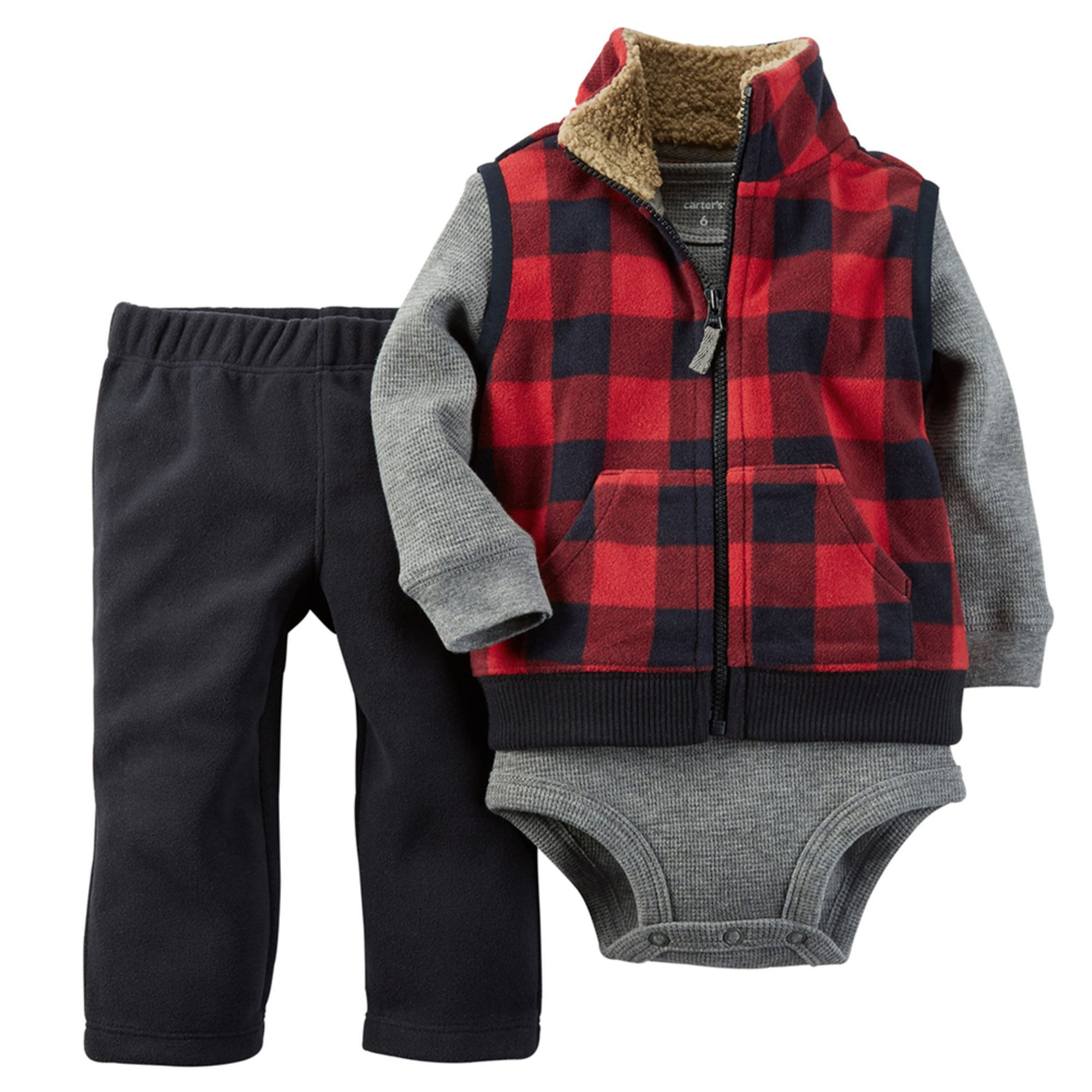 Overview: Vest: Sleeveless. Zipper from hem to neck. Small embroidered logo on upper left front. Sherpa lined collar. Fleece plaid. Graphic Tee: Raglan tee.