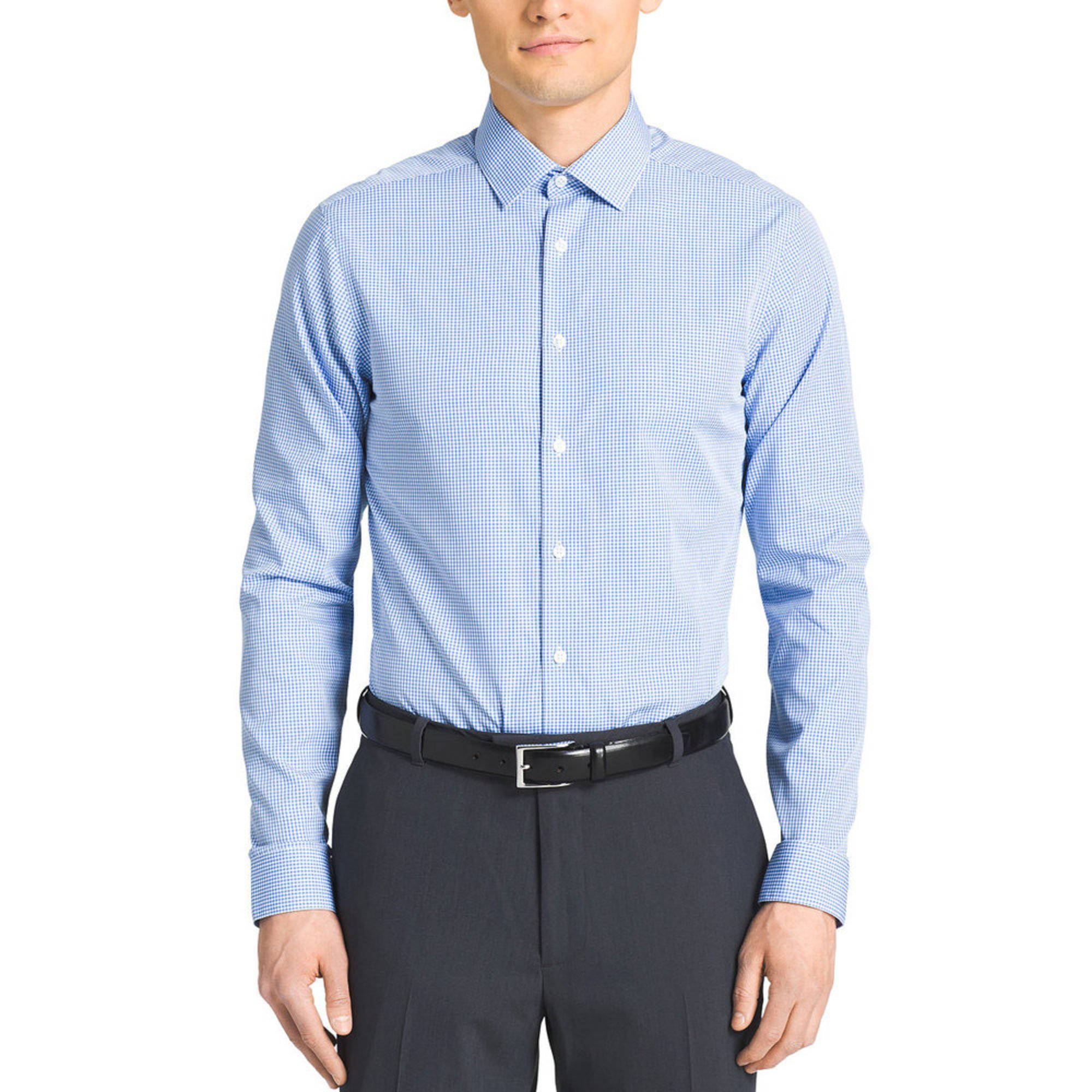 Calvin Klein Slim Fit No Iron Check Dress Shirt Blue