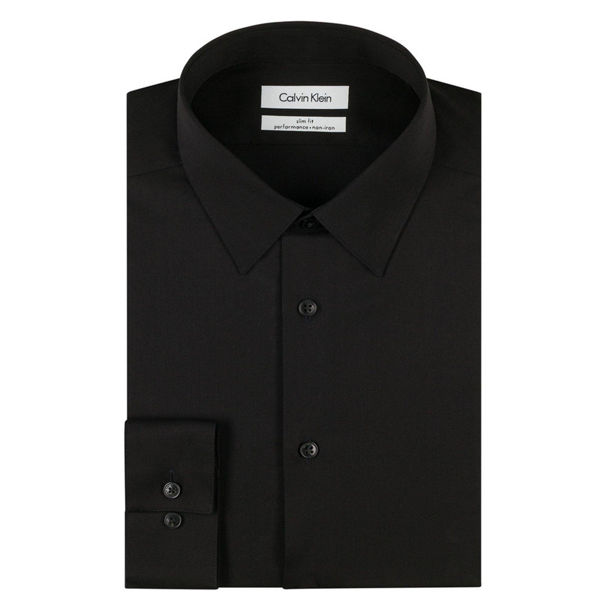 Calvin klein men 39 s steel slim fit non iron dobby solid for Calvin klein x fit dress shirt
