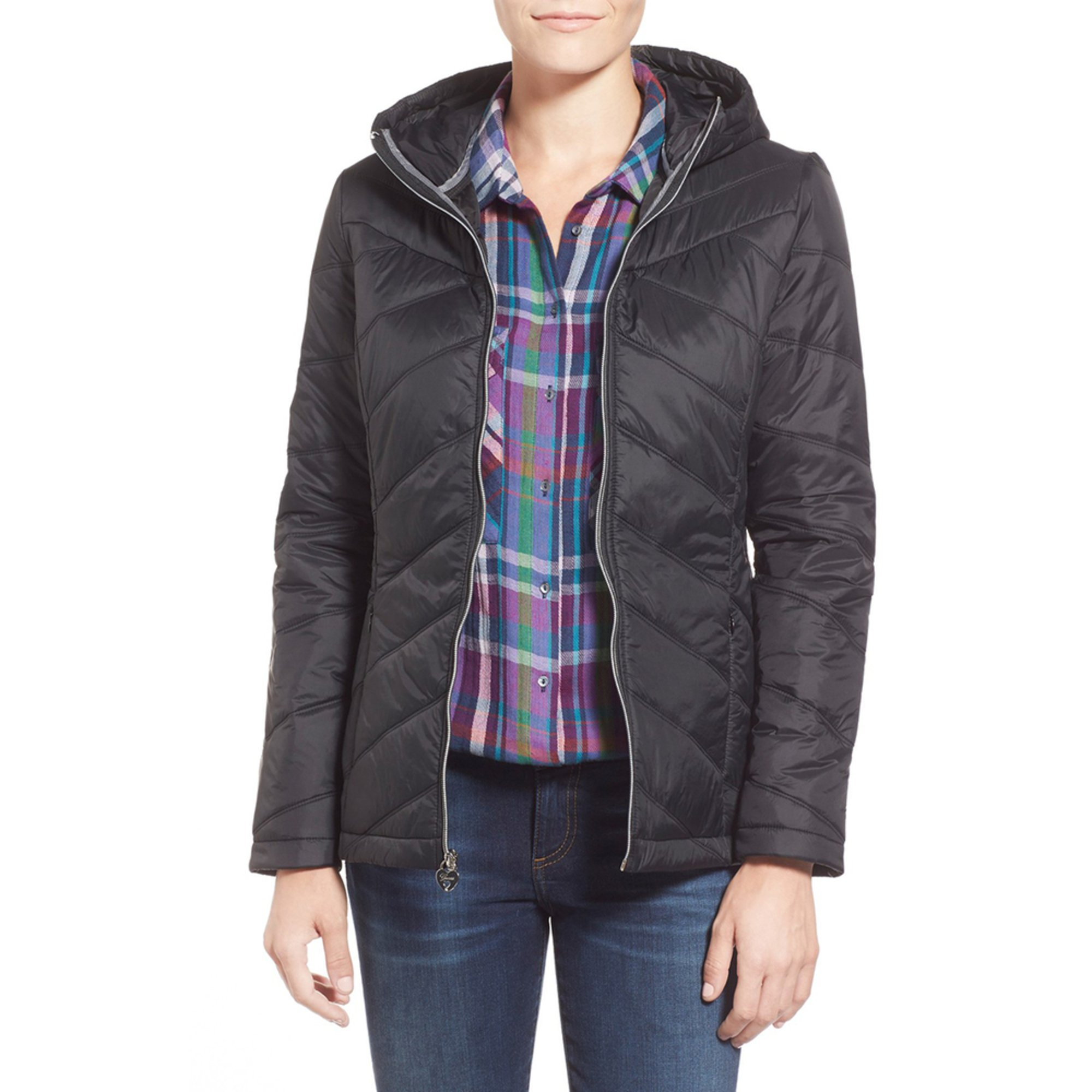 Guess Women S Packable Polyfill Jacket With Hood Women Shop Your Navy Exchange Official Site