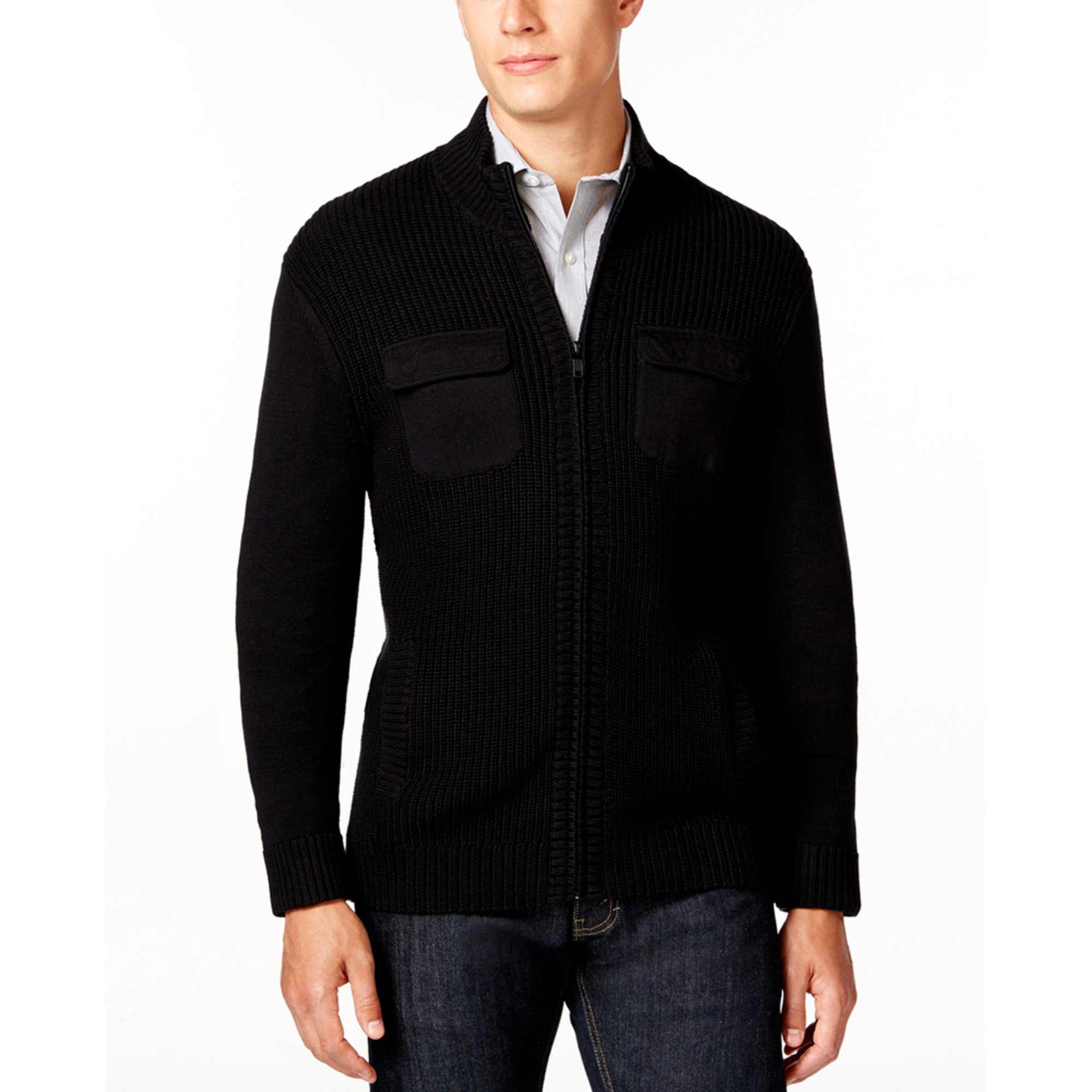 alfani s zip textured sweater s clothing