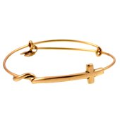 Alex and Ani Cross Wrap Expandable Bangle, Gold Finish