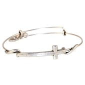 Alex and Ani Cross Expandable Bangle, Silver Finish