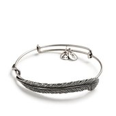 Alex and Ani Quill Feather Expandable Bangle, Silver Finish