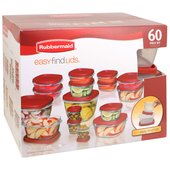 Rubbermaid Easy Find Lids 60-Piece Set, Red